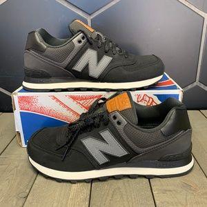 New Mens New Balance 574 Black Grey Running Shoes